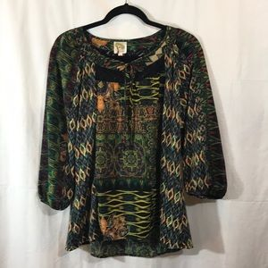 Anthropology fig and flower Boho Geometric blouse